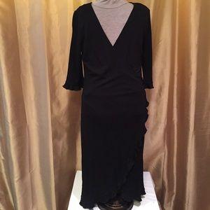 ABS (L) Black Faux Wrap Dress